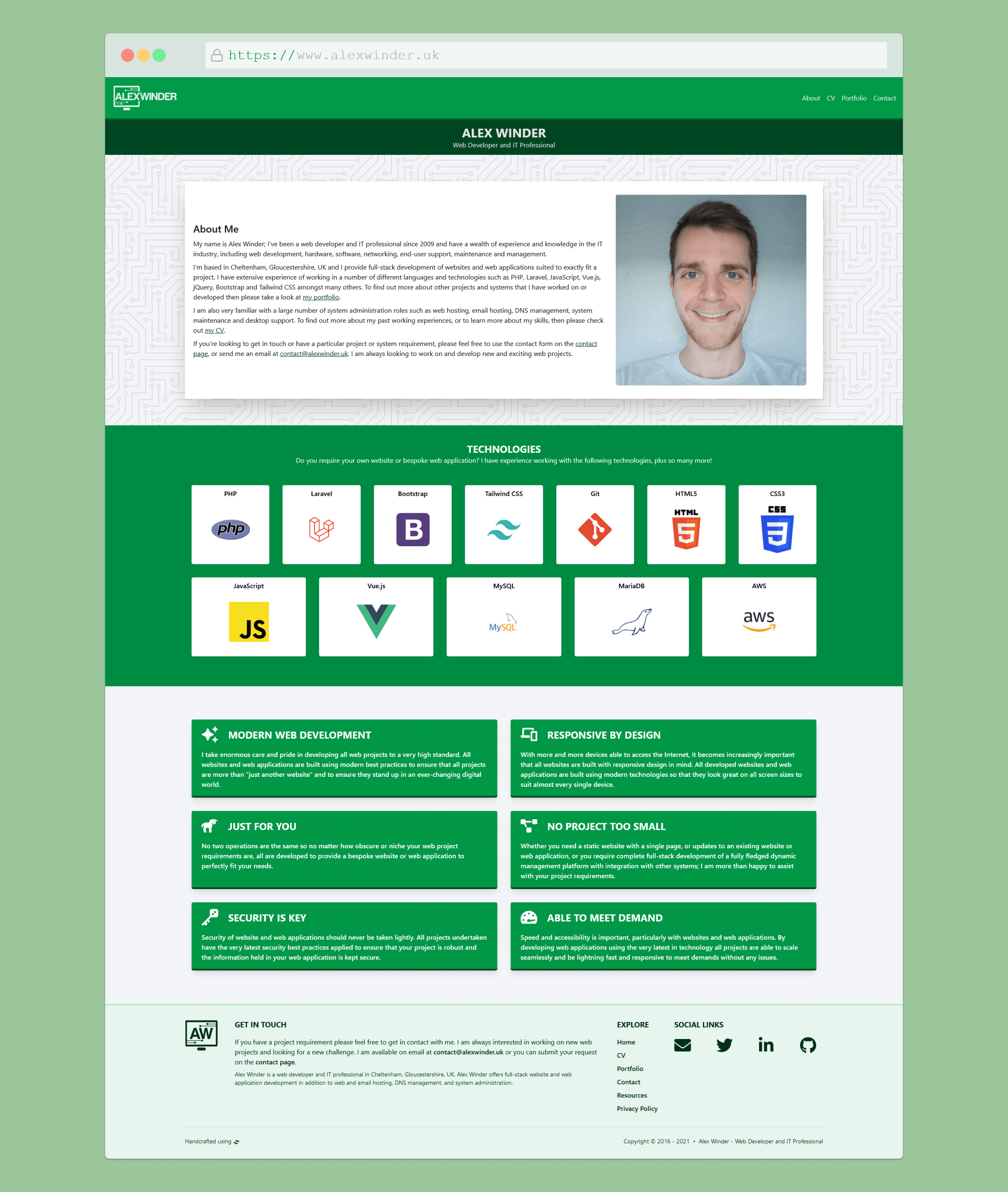 Alex Winder Website Redesign
